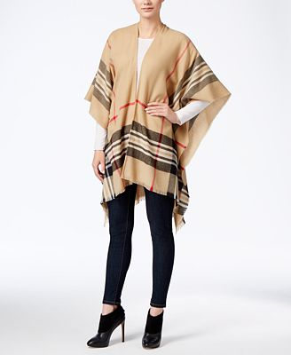 Charter Club Lightweight Border Plaid Poncho, Created for Macy's