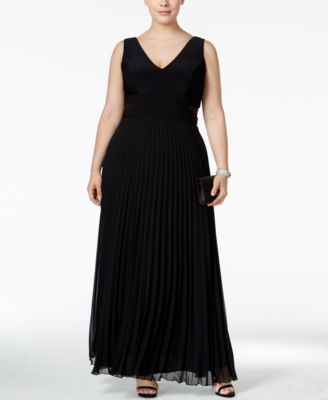 Xscape Plus Size Pleated V-Neck Gown