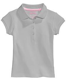 Little Girls School Uniform Picot-Trim Polo