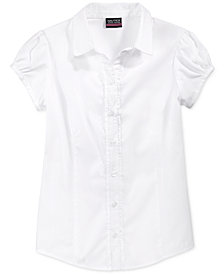 Nautica School Uniform Ruffled Button-Front Top, Big Girls