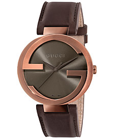 Gucci Women's Swiss Interlocking Brown Leather Strap Watch 42mm YA133207