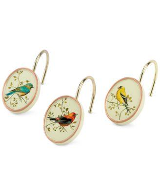 Bath Accessories, Gilded Birds Shower Hooks, Set of 12