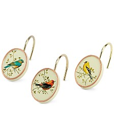 Avanti Bath Accessories, Gilded Birds Shower Hooks, Set of 12