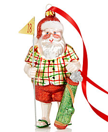 Holiday Lane Glass Golfing Santa Ornament, Created for Macy's