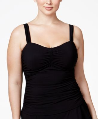 Profile by Gottex Plus Size Shirred Underwire Tankini Top