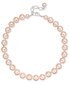 Charter Club Silver-Tone Imitation Pink Pearl Collar Necklace, Created for Macy's