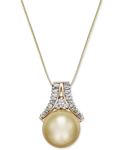 Cultured Golden South Sea Pearl (12mm) and Diamond (1/3 ct. t.w.) Pendant Necklace in 14k Gold