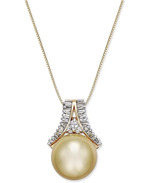 Macy's Cultured Golden South Sea Pearl (12mm) and Diamond (1/3 ct. t.w.) Pendant Necklace in 14k Gold