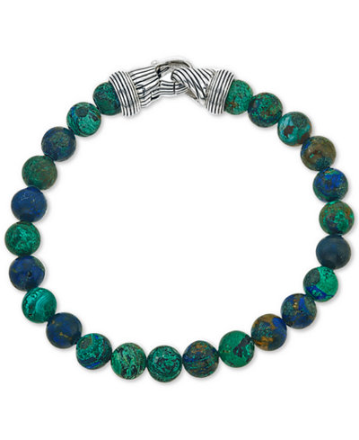 Esquire Men's Jewelry Reconstituted Azurite Malachite (8mm) Beaded Bracelet in Sterling Silver, Created for Macy's