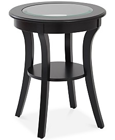 Rankin Round Glass-Top Accent Table, Quick Ship
