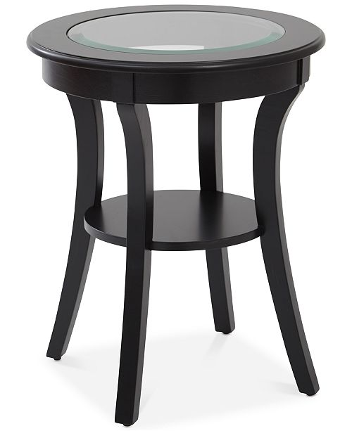 Furniture Rankin Round Glass-Top Accent Table, Quick Ship