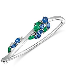 Le Vian® Precious Collection Sapphire (2-3/8 ct. t.w.), Emerald (1-1/5 ct. t.w.) and Diamond (1/5 ct. t.w.) Bangle Bracelet in 14k White Gold, Created for Macy's