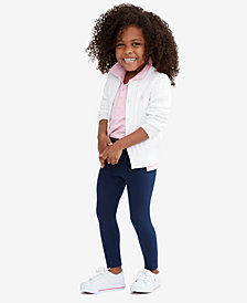 Ralph Lauren Little Girls and Big Girls Cardigan, Mesh Polo & Pony Leggings