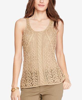 Lauren Ralph Lauren Cable Knit Sleeveless Sweater Sweaters Women