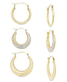 3-Pc. Set Small Hoop Earrings in 10k Gold