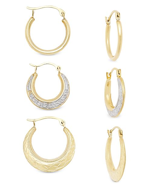 Macy's 3-Pc. Set Small Hoop Earrings in 10k Gold