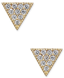 Cubic Zirconia Pavé Triangle Stud Earrings in 10k Gold