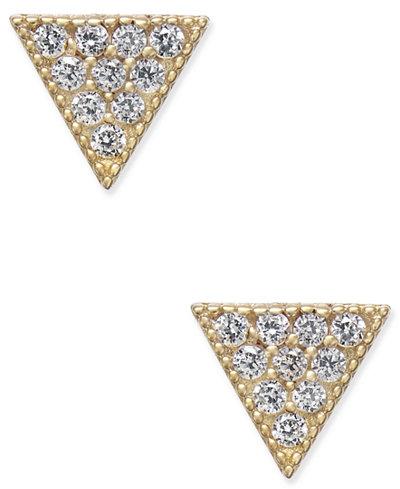 Cubic Zirconia Pavé Triangle Stud Earrings in 10k Gold