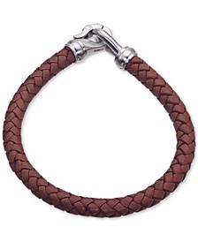 Brown Leather Bracelet in Stainless Steel, Created for Macy's