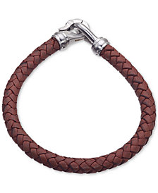 Esquire Men's Jewelry Brown Leather Bracelet in Stainless Steel, Created for Macy's