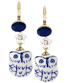 Betsey Johnson Gold-Tone Blue and White Ceramic Owl Drop Earrings
