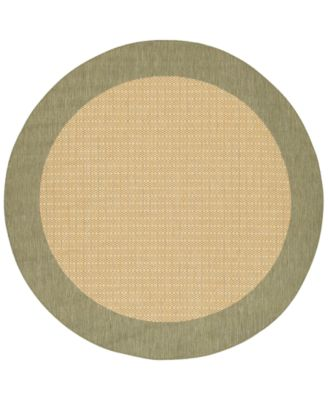 "CLOSEOUT! Area Rug, Recife Indoor/Outdoor 1005/5005 Checkered Field Natural-Green 8' 6"" Round"