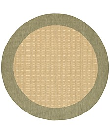 "CLOSEOUT! Recife Checkered Field Natural/Green 7'6"" Round Indoor/Outdoor Area Rug"