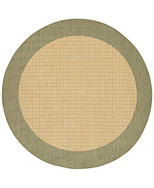 "CLOSEOUT! Couristan Area Rug, Recife Indoor/Outdoor 1005/5005 Checkered Field Natural-Green 7' 6"" Round"