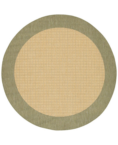 CLOSEOUT! Couristan Area Rug, Recife Indoor/Outdoor 1005/5005 Checkered Field Natural-Green 8' 6
