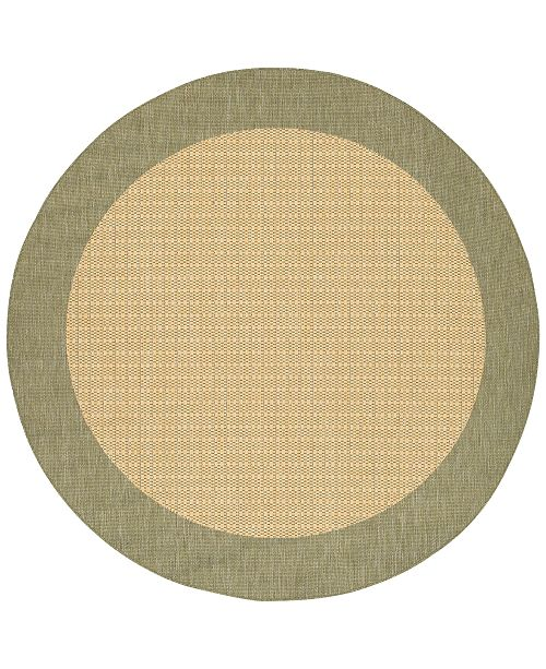 "Couristan CLOSEOUT! Area Rug, Recife Indoor/Outdoor 1005/5005 Checkered Field Natural-Green 7' 6"" Round"