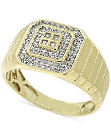 Men's Diamond Square-Style Ring (1/4 ct. t.w.) in 10k Gold