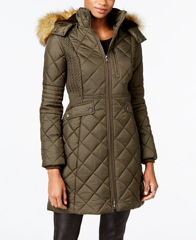 Jones New York Faux-Fur-Trim Quilted Down Coat - Coats - Women ... : brown quilted coat - Adamdwight.com