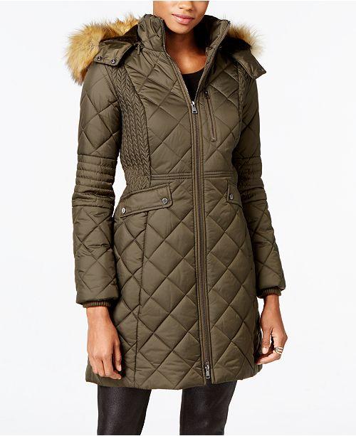 8c8a10abff8 Jones New York Faux-Fur-Trim Quilted Down Coat   Reviews - Coats ...