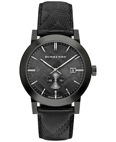 Burberry women 39 s swiss chronograph the classic round black check embossed leather strap watch for Burberry watches