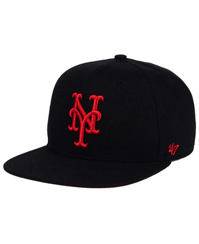 '47 Brand New York Mets Black Red Shot Snapback Cap