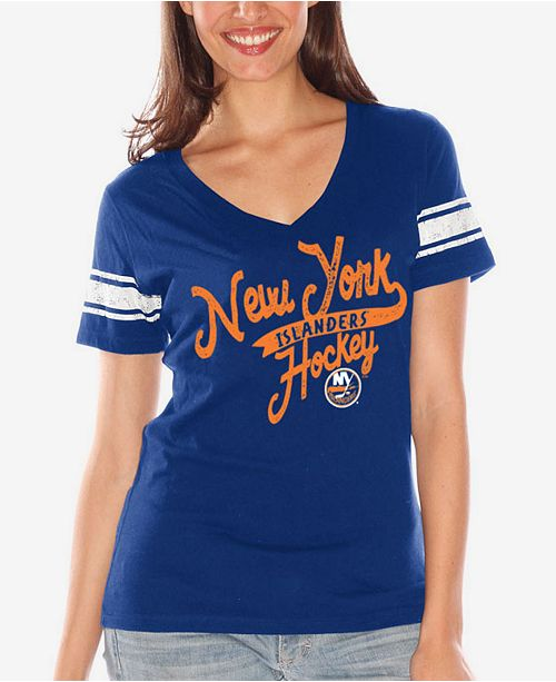 Women's New York Islanders Sleeve Stripe Tailsweep T-Shirt