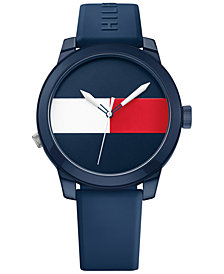 Tommy Hilfiger Men's Cool Sport Navy Silicone Strap Watch 42mm 1791322, Created for Macy's