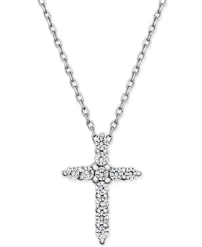 Macy's - Diamond Cross Pendant Necklace (1/4 ct. t.w.) in 14k White Gold