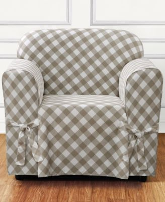 Buffalo Check One-Piece Straight Skirt with Cord Chair Slipcover