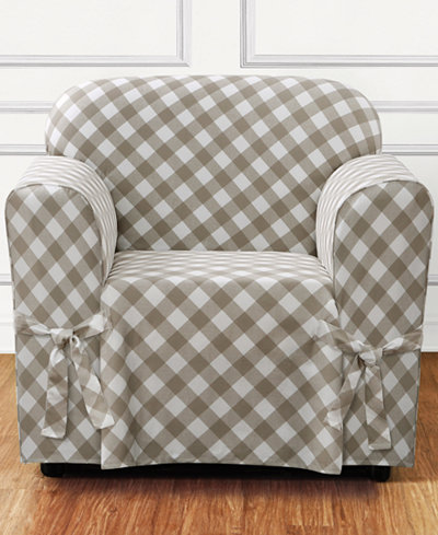 Sure Fit Buffalo Check One-Piece Straight Skirt with Cord Chair Slipcover