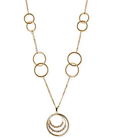 Italian Gold Tri-Tone Multi-Circle Statement Necklace in 14k White, Yellow and Rose Gold