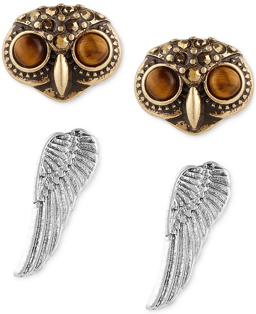 Lucky Brand Two Tone 2 Pc Set Owl Head And Wing Stud