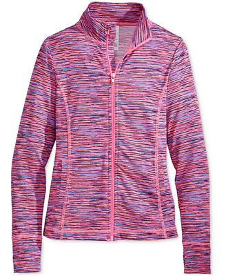Ideology Space-Dyed Front-Zip Jacket, Big Girls (7-16), Only at
