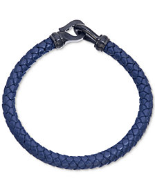 Esquire Men's Jewelry Navy Leather Bracelet in Black IP over Stainless Steel, Created for Macy's