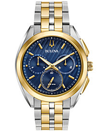 Bulova Men's Chronograph Curv Two-Tone Stainless Steel Bracelet Watch 45mm 98A159