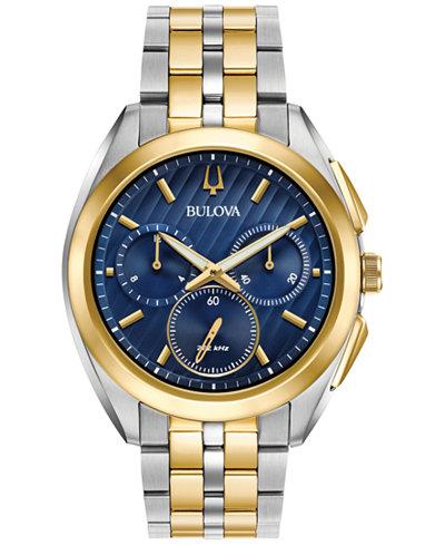 Bulova Men's Chronograph Curv Two-Tone Stainless Steel Bracelet Watch 45mm 98A159