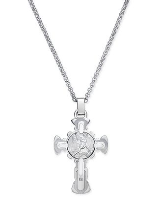 Mens diamond accent st michael cross pendant necklace in mens diamond accent st michael cross pendant necklace in stainless steel mozeypictures Gallery