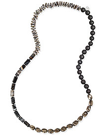 Paul & Pitü Naturally Cultured Freshwater Pearl (12mm) and Lava Bead Long Necklace