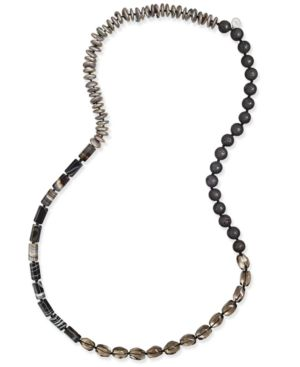 Paul & Pitu Naturally Cultured Freshwater Pearl (12mm) and Lava Bead Long Necklace