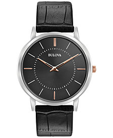 Bulova Men's Dress Black Leather Strap Watch 40mm 98A167
